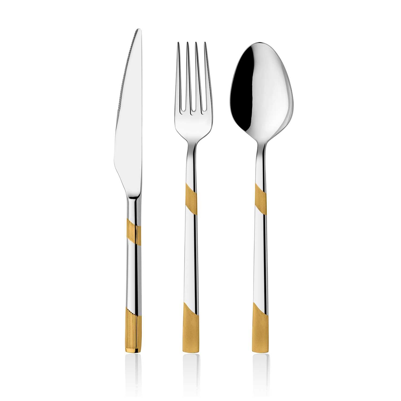ONON İnci Altın 24 Parça Çatal Kaşık Bıçak Takımı 1